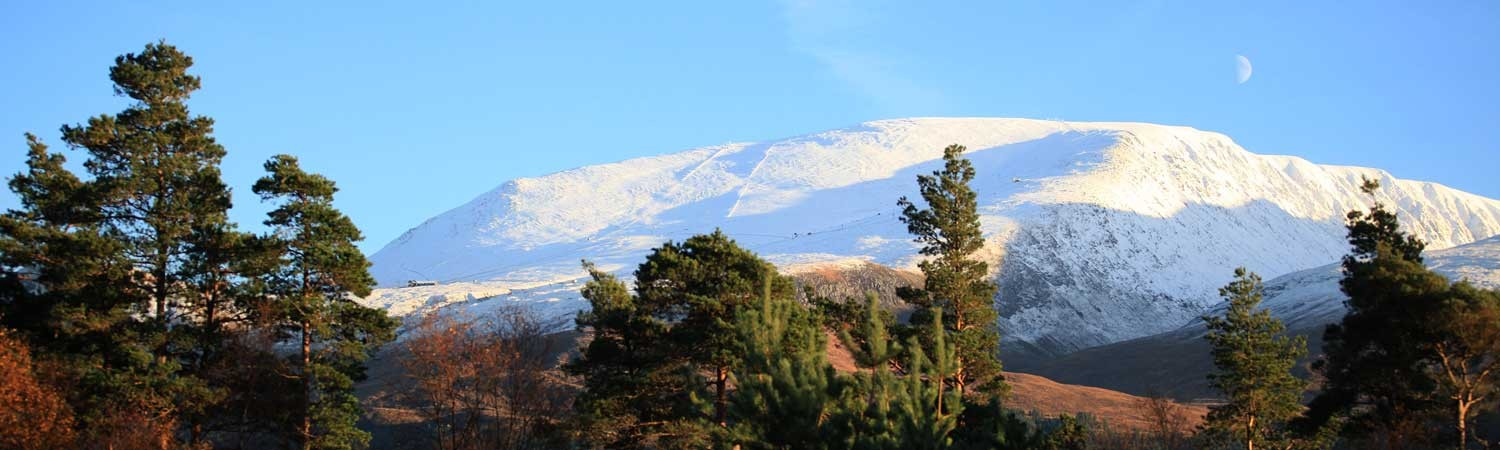 skiing and snow-boarding at Fort William - the view from our Fort William cottage