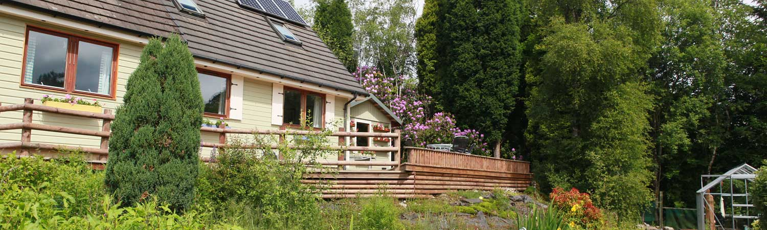 a view of our Highland cottage from the garden