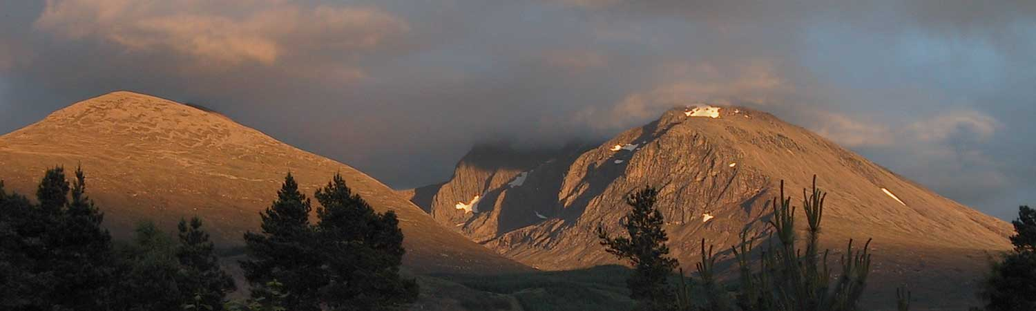 Mid summer evening sunlight on Ben Nevis from Cedar Lodge