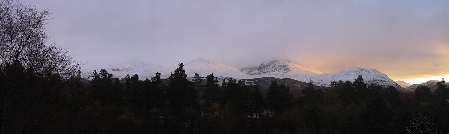 enjoy this snowy landscape from Cedar Lodge cottage near Ben Nevis